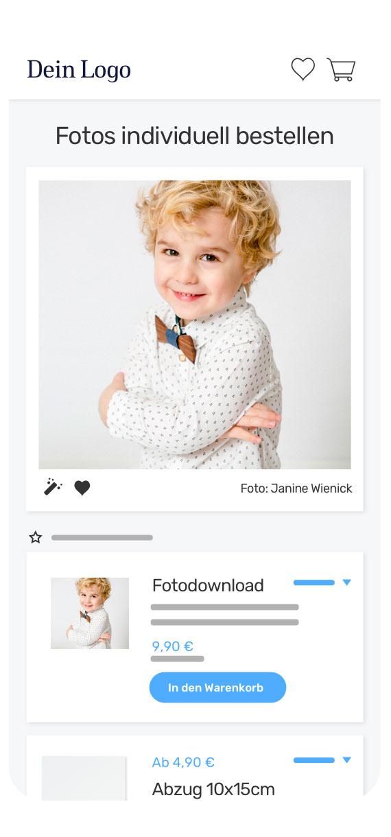 fotograf.de - so sieht der Onlineshop auf Mobilgeräten aus